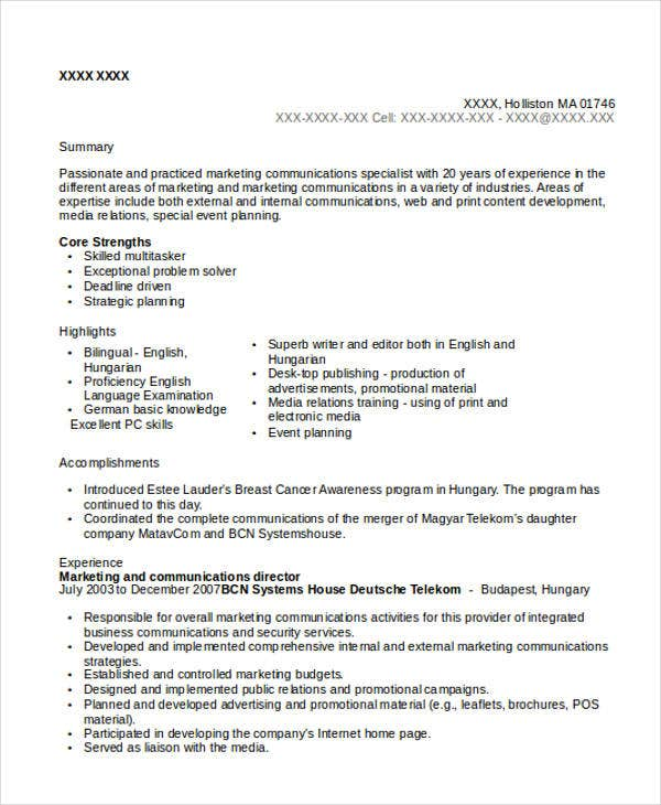 Marketing Communications Director Resume