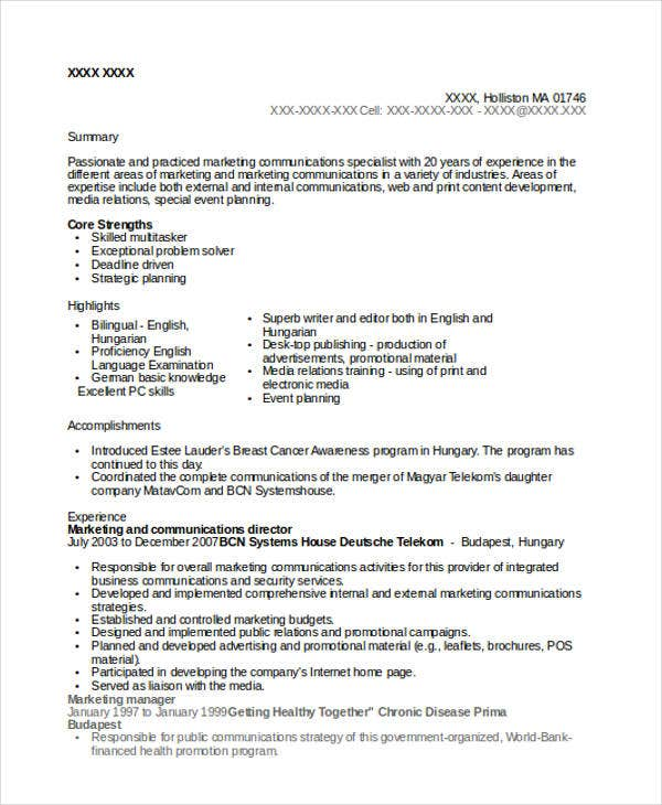 marketing communications director resume7