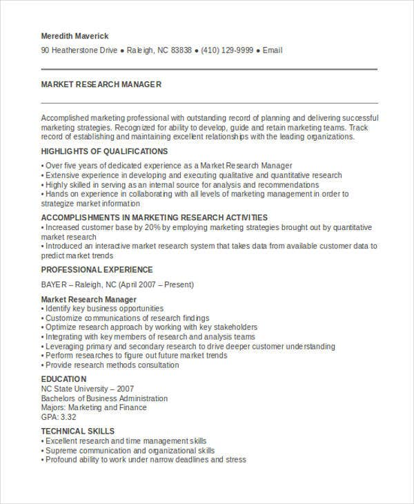 marketing research manager resume3