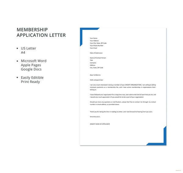 membership form template doc - 22 application letter templates in doc free premium