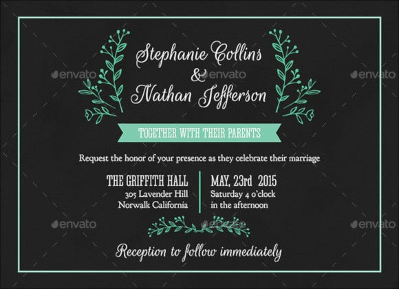 modern wedding invitation in psd template