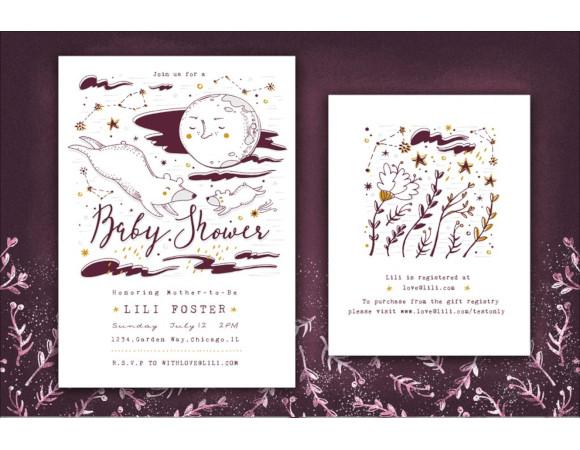moon star neutral baby shower invitation