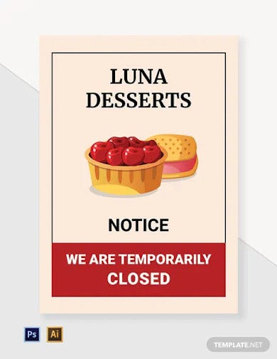 notice temporarily closed label template