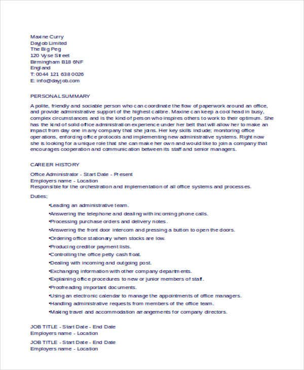 administration cv examples