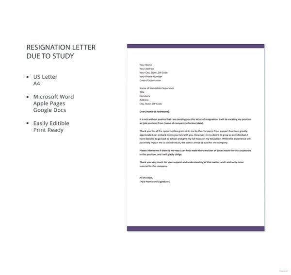 Official-Resignation-Letter-Due-to-Study-Template Official Resignation Letter Template on two weeks notice, personal reasons, simple sample, for kappa, sample teacher,
