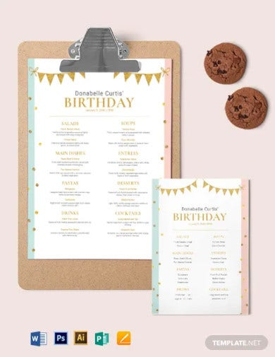 party birthday menu template1