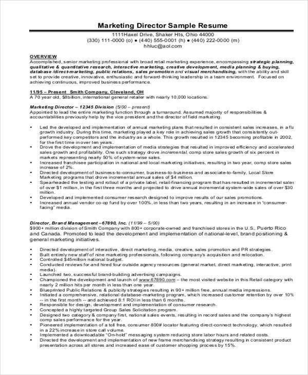 Product Marketing Director Resume  Product Marketing Resume