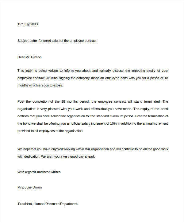 professional termination letter