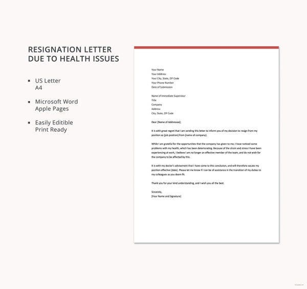 resignation letter due to health issues template