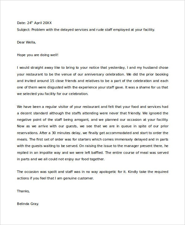 Complaint letter samples 28 free word pdf documents download restaurant complaint letter format altavistaventures Image collections