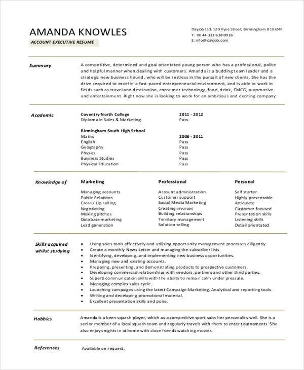 resume format for accounts executive download