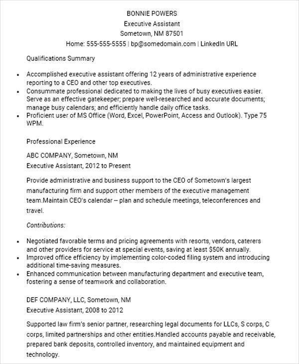 resume for administrative assistant executive