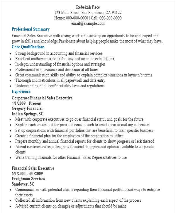 resume for finance sales executive