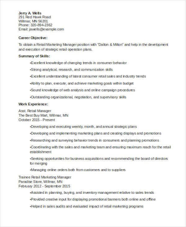Charming Retail Marketing Experience Resume  Retail Marketing Resume