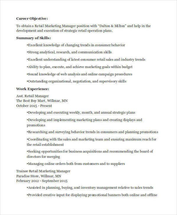 retail-marketing-manager-resume