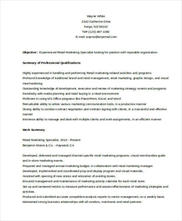Retail Marketing Specialist  Retail Marketing Resume