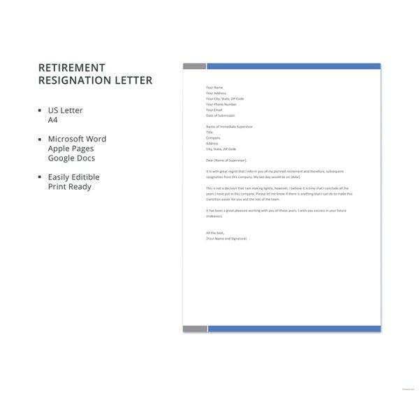 7 sample retirement resignation letters free sample example retirement resignation letter template spiritdancerdesigns Image collections