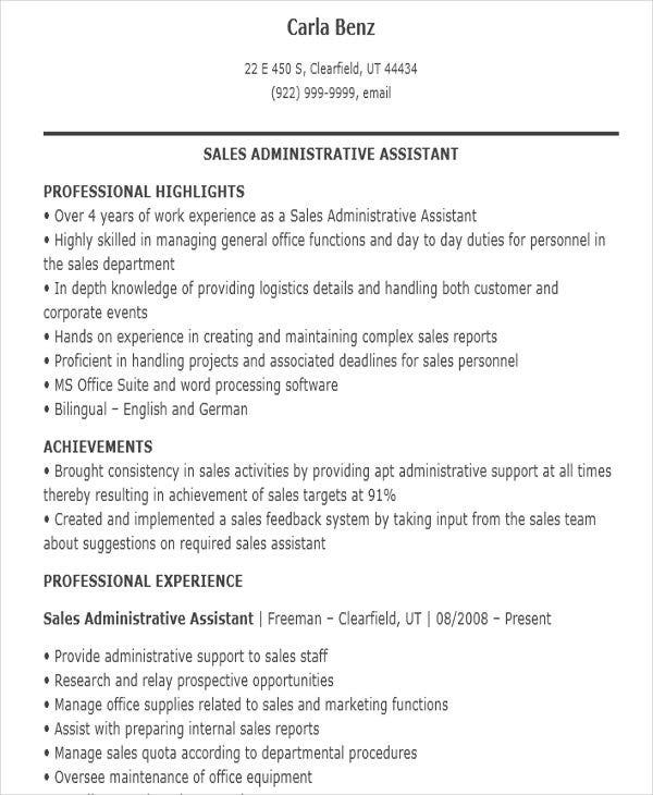 Sales Assistant Resume Template  7 Free Word  PDF Format