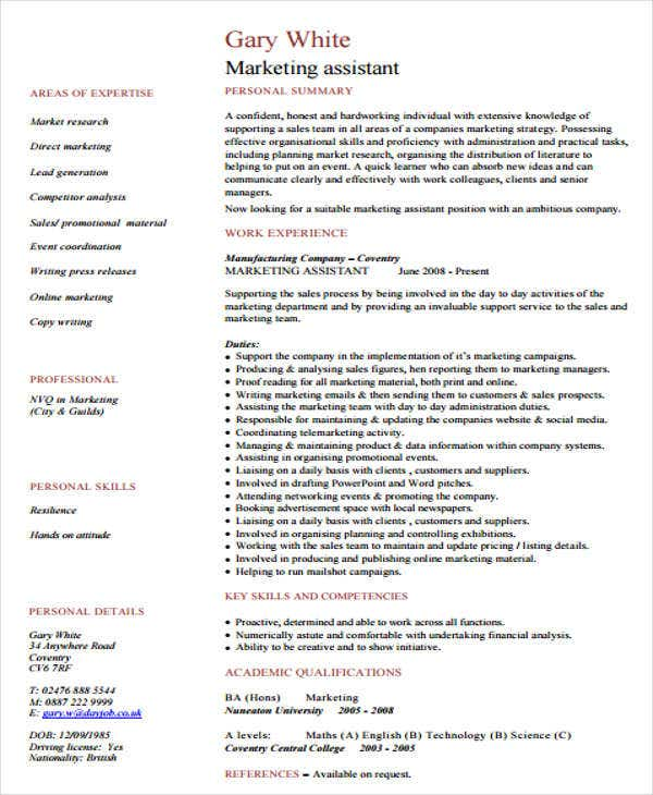 Sales Assistant Resume Templates   Free Word Pdf Format