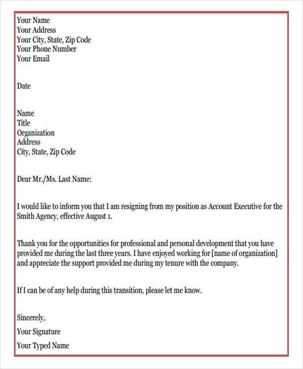 sample formal resignation letter2
