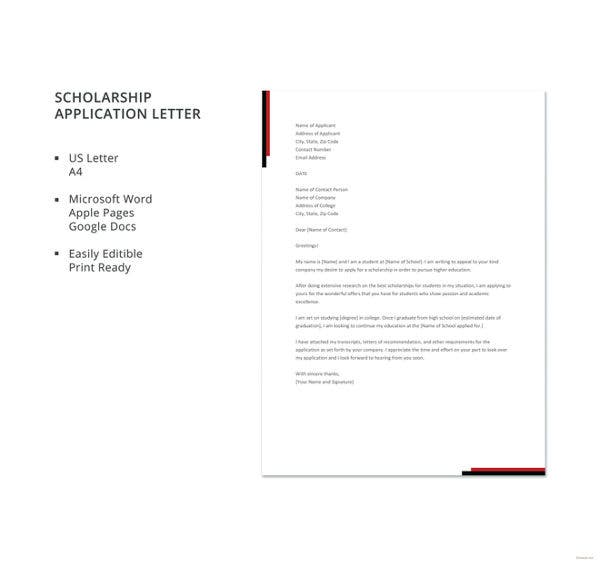 scholarship application letter template