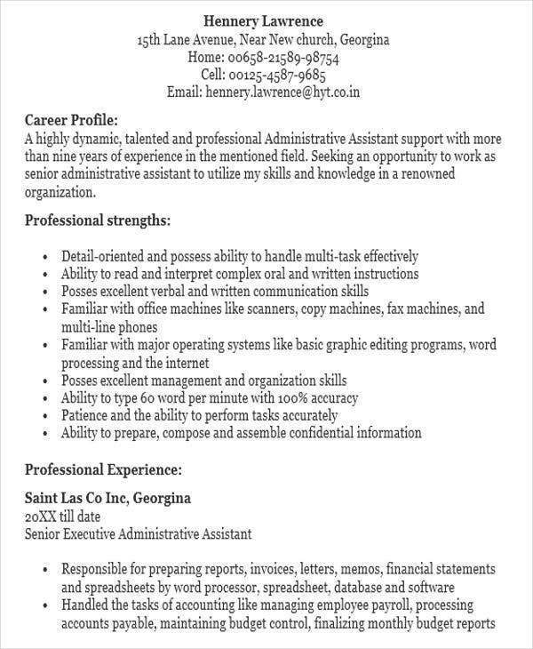 32 modern executive resume templates free premium for Sample resume for executive assistant to senior executive