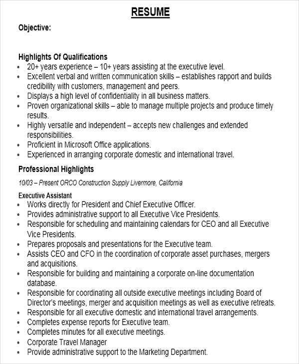 senior executive assistant resume example