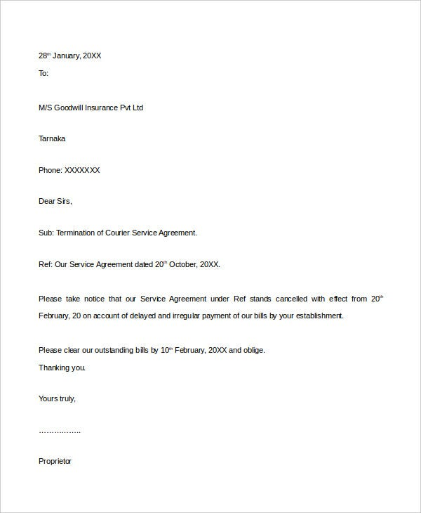 service agreement termination letter2