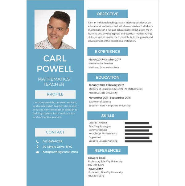 simple teacher resume template1
