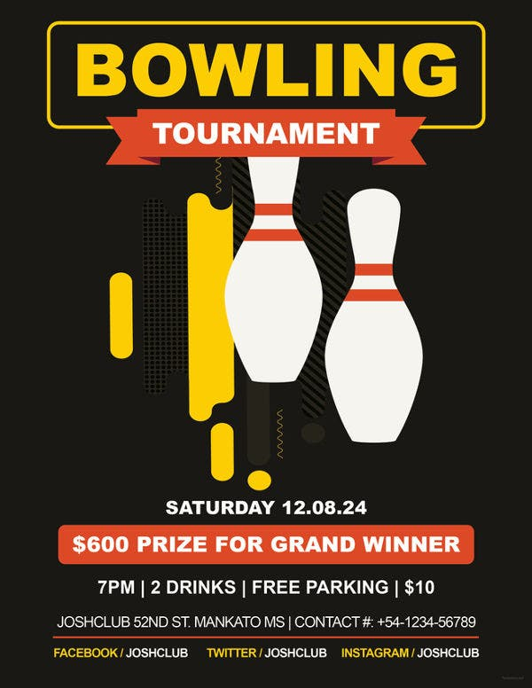 sports bowling flyer template