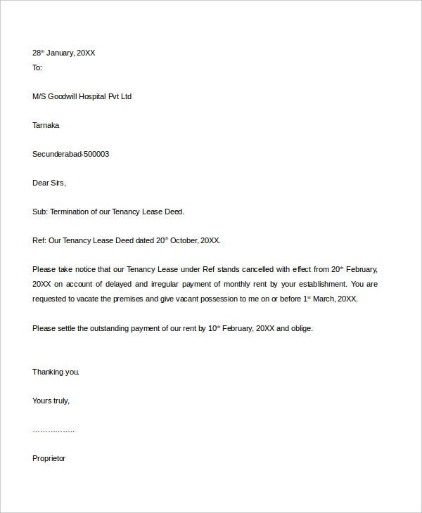 tenancy termination letter
