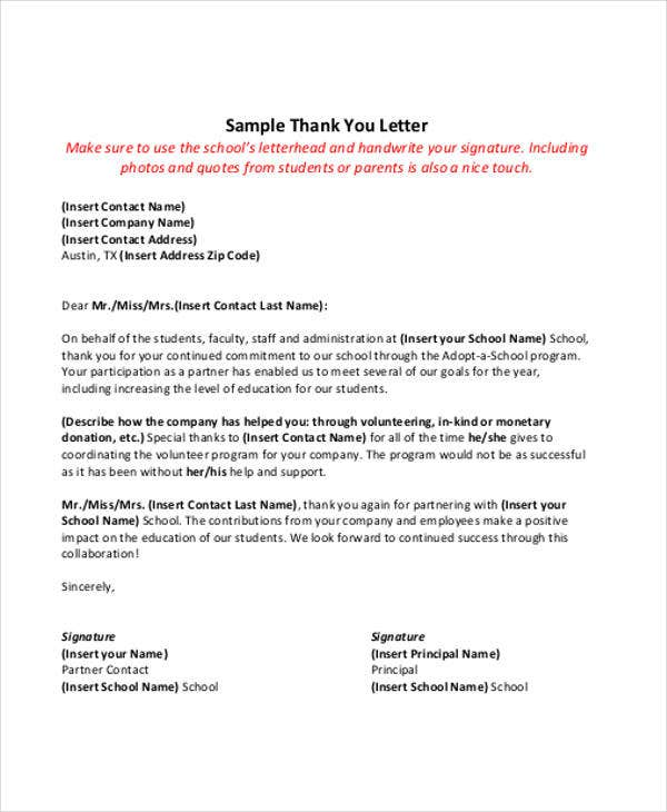 45 thank you letter example templates free premium templates thank you letter from principal expocarfo Images