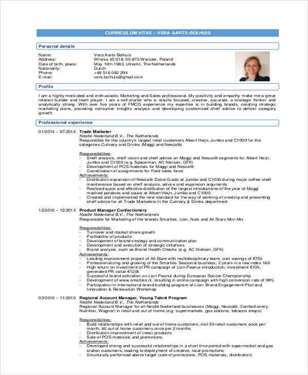 Resume Exampl Marketer Resume Marketing Resumes Resumes For