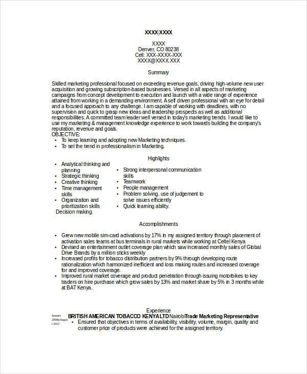46 professional marketing resume free premium templates