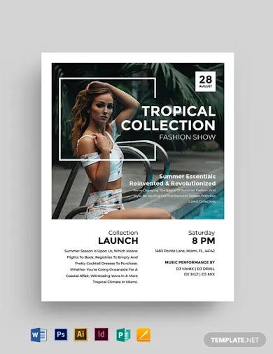 tropical fashion show flyer template