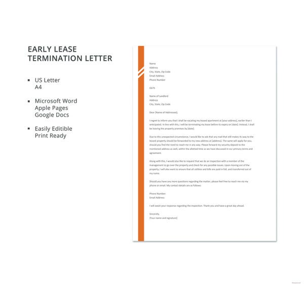 untitledfree early lease termination letter template