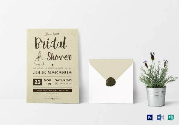 vintage bridal shower invitation card template