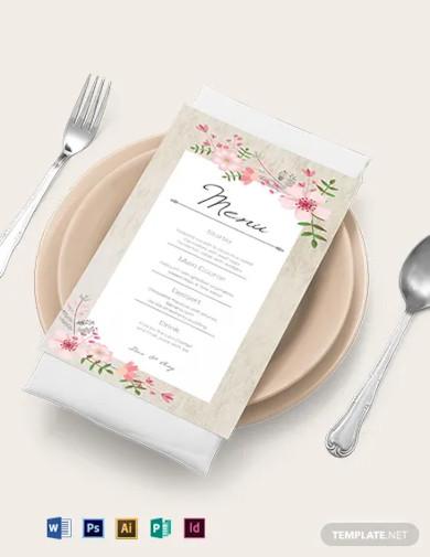 vintage floral wedding menu card template