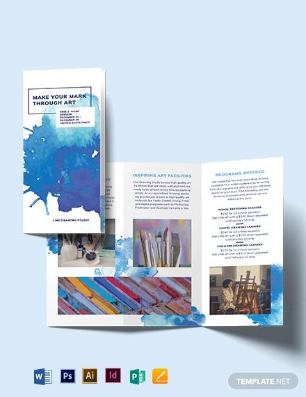 watercolor trii fold brochure template