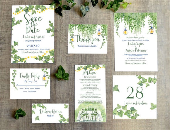 wedding invitation templates set psd