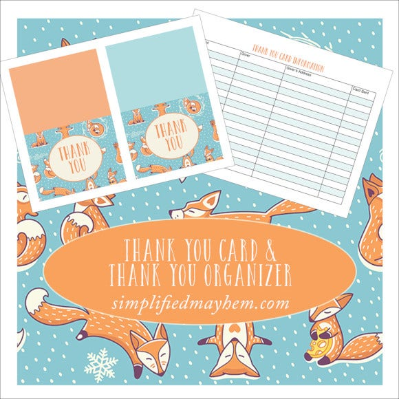 winter fox printable thank you card