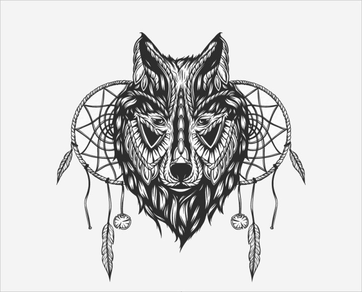 wolf tribal illustration