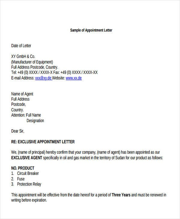 marketing agent appointment letter