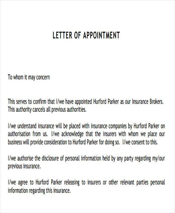 insurance letter of authority template  9  Agent Appointment Letter Templates - Free Samples, Examples ...
