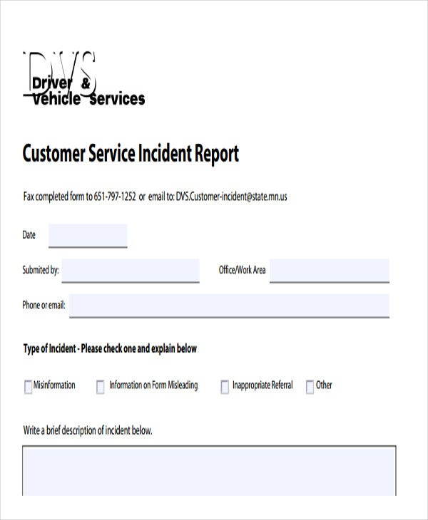 customer service incident report