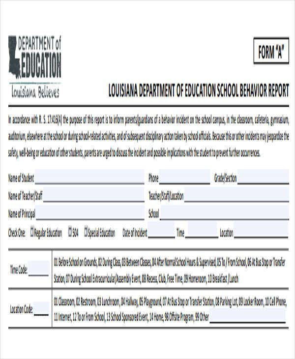 school behavior incident report