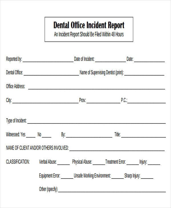Medical Incident Report Forms  Medical Incident Report Template