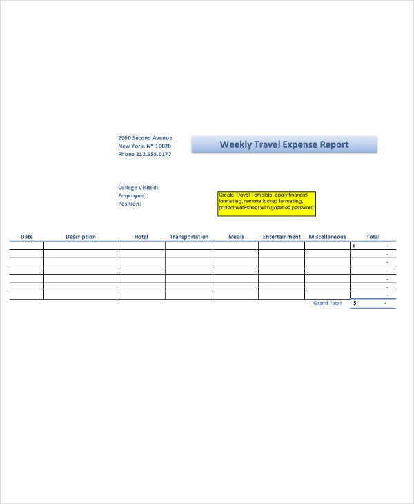 20 Expense Report Samples – Weekly Expense Report Template