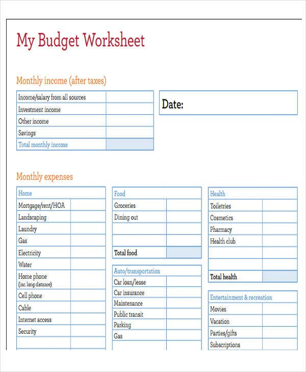 monthly home expenses template