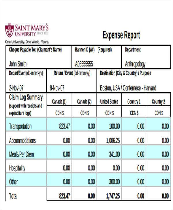 sample event expense report1